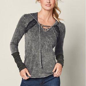 Mineral Wash Lacing Hoodie Sweatshirt